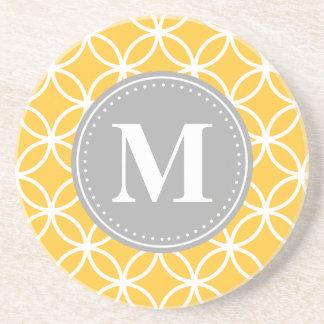Sunflower Yellow Geometric Circles Grey Monogram Coasters