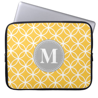 Sunflower Yellow Modern Circles Grey Monogram Laptop Sleeve
