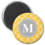 Sunflower Yellow Moroccan Lattice Grey Monogram Magnet