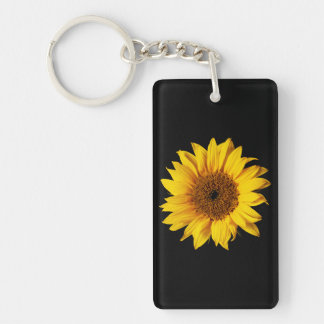 Sunflower Yellow on Black - Customized Sun Flowers Key Ring