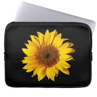 Sunflower Yellow on Black - Customized Sun Flowers Laptop Sleeve