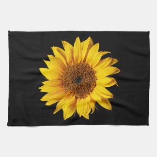 Sunflower Yellow on Black - Customized Sun Flowers Tea Towel