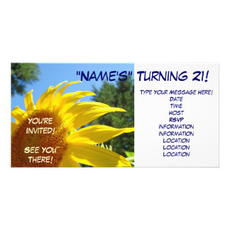 Sunflower You're Invited! invitations Turning 21 Photo Greeting Card