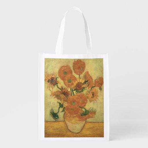 Sunflowers, 1889 (oil on canvas) reusable grocery bag