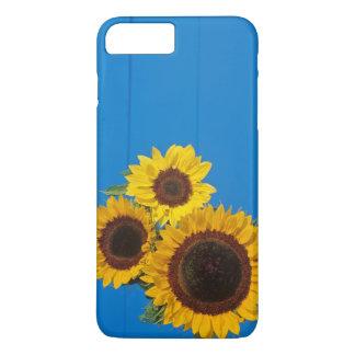 Sunflowers against blue fence iPhone 7 plus case