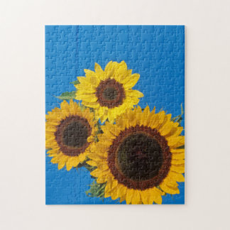 Sunflowers against blue fence jigsaw puzzle