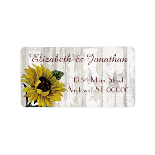 Sunflowers and a White Fence Wedding Label