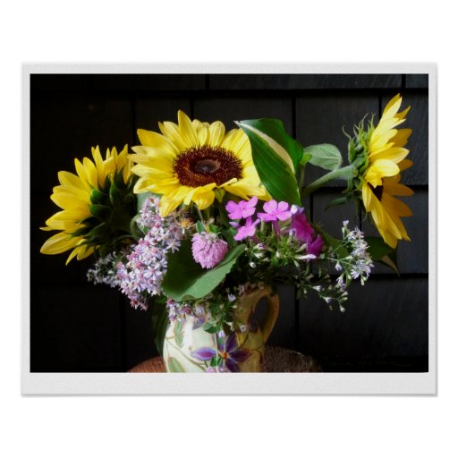 Sunflowers and Asters POSTER