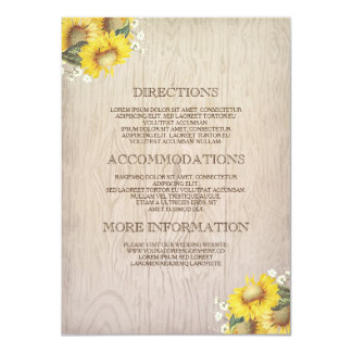 Sunflowers and Baby's Breath Rustic Information Card