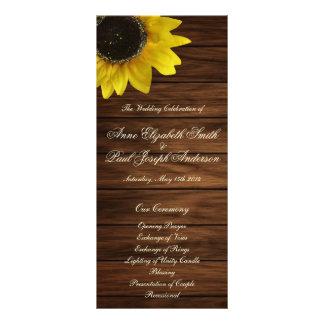 Sunflowers and barn wood Wedding Program Rack Card