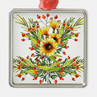 Sunflowers and Berries Floral Watercolor Design Christmas Ornament