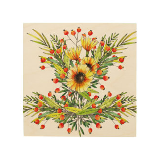 Sunflowers and Berries Floral Watercolor Design Wood Wall Decor