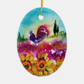 SUNFLOWERS AND BLACK ROOSTER CERAMIC OVAL DECORATION