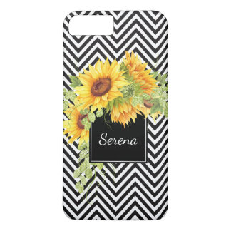 Sunflowers and Chevron Stripes Pattern with Name iPhone 8 Plus/7 Plus Case