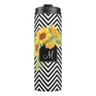 Sunflowers and Chevrons with Any Monogram Thermal Tumbler
