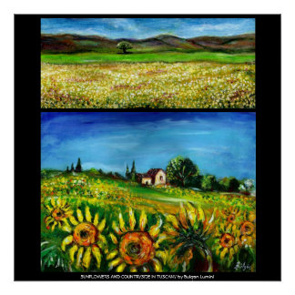 SUNFLOWERS AND COUNRTYSIDE IN TUSCANY COLLECTION 2 POSTERS
