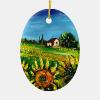 SUNFLOWERS AND COUNTRYSIDE IN TUSCANY Heart Christmas Ornament