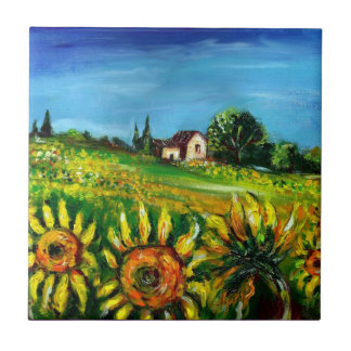 SUNFLOWERS AND COUNTRYSIDE IN TUSCANY TILE