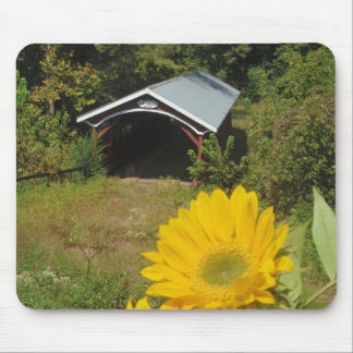 Sunflowers and Cover bridge Mousepad