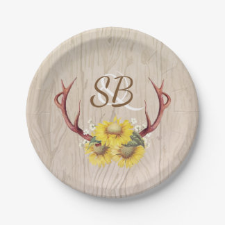Sunflowers and Deer Antlers Rustic Barn Wood Paper Plate