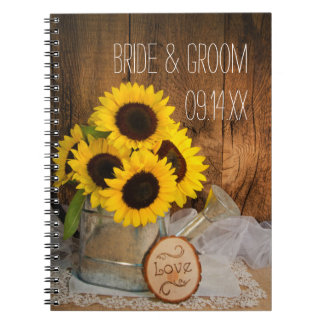 Sunflowers and Garden Watering Can Barn Wedding Notebook