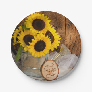 Sunflowers and Garden Watering Can Wedding 7 Inch Paper Plate