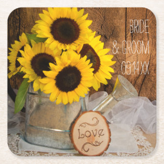 Sunflowers and Garden Watering Can Wedding Square Paper Coaster