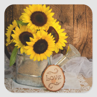 Sunflowers and Garden Watering Can Wedding Square Sticker