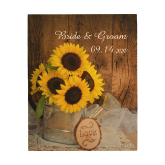 Sunflowers and Garden Watering Can Wedding Wood Wall Decor