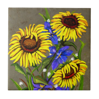 Sunflowers and Irises Tile