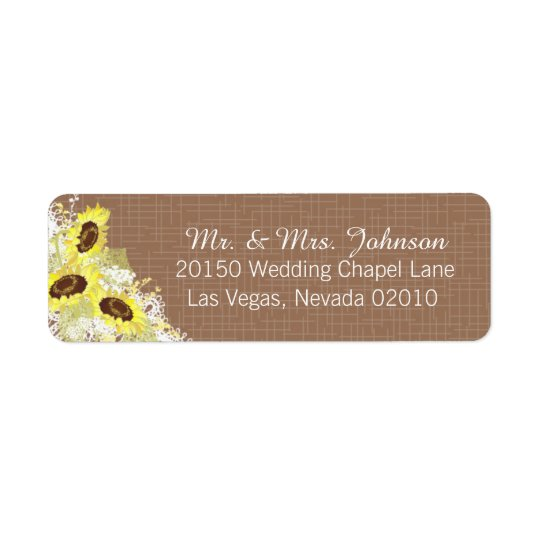 Sunflowers and Lace Rustic Wedding Label