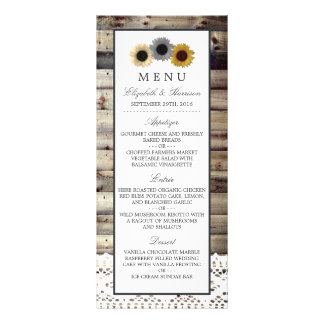 Sunflowers and Lace Rustic Wood Wedding Menu