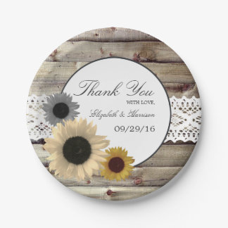 Sunflowers and Lace Rustic Wood Wedding Paper Plate