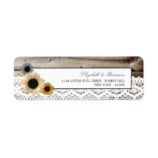 Sunflowers and Lace Rustic Wood Wedding Return Address Label