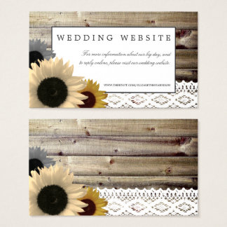 Sunflowers and Lace Rustic Wood Wedding Website Business Card