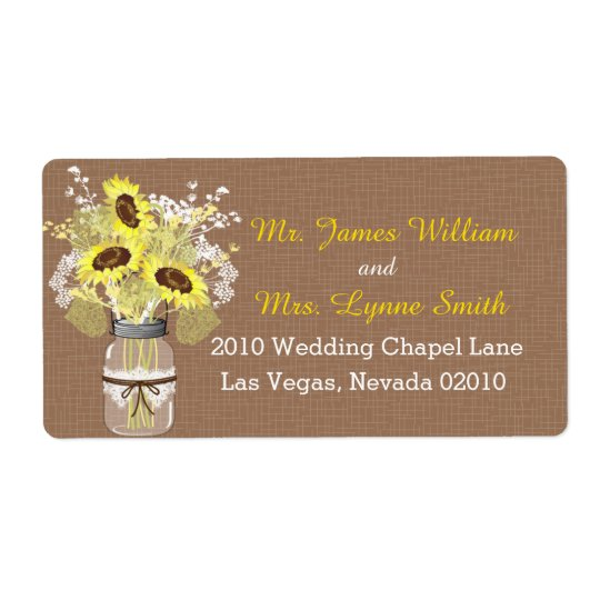 Sunflowers and Lace Wedding Label Shipping Label