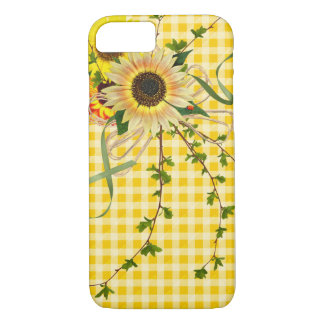 sunflowers and lady bug on ginham iPhone 8/7 case