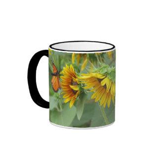 Sunflowers and Monarch Ringer Coffee Mug