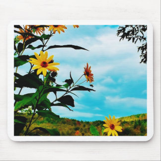 Sunflowers and mountains in Fletcher, Vermont Mouse Pad