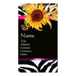 SUNFLOWERS AND PINK BLACK WHITE ZEBRA FUR MONOGRAM BUSINESS CARDS