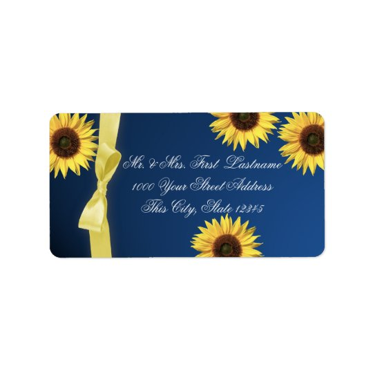 Sunflowers and Ribbon Address Label