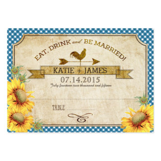 Sunflowers and Rooster Picnic Wedding Place Cards Pack Of Chubby Business Cards