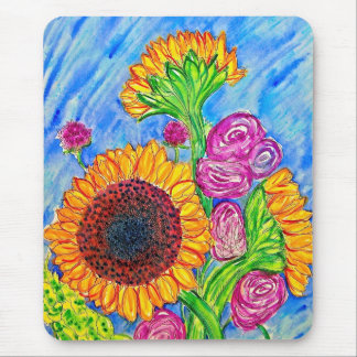 Sunflowers and Roses Mouse Mat