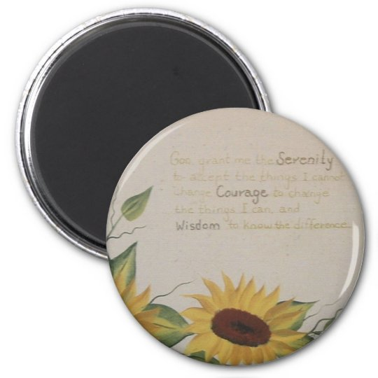 Sunflowers and Serenity Prayer Magnet