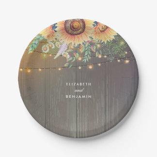 Sunflowers and String Lights Rustic Country Barn 7 Inch Paper Plate