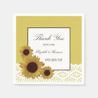 Sunflowers and Vintage Lace Wedding Disposable Serviettes