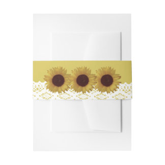 Sunflowers and Vintage Lace Wedding Invitation Belly Band