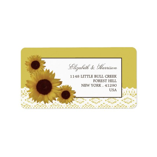 Sunflowers and Vintage Lace Wedding Label