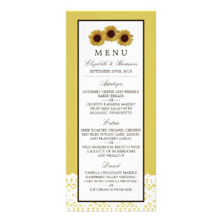 Sunflowers and Vintage Lace Wedding Menu