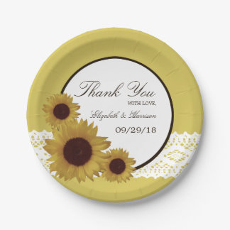 Sunflowers and Vintage Lace Wedding Paper Plate